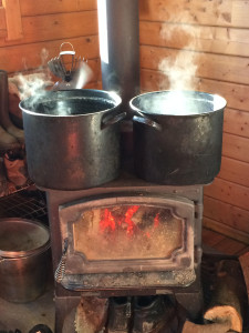 cooking maple syrup at the mountain queen